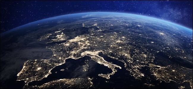 Europe viewed from space at night.